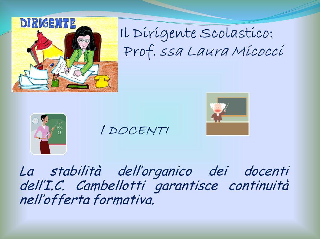 I DOCENTI La stabilità dellorganico dei docenti dellI.C. Cambellotti garantisce continuità nellofferta formativa. Il Dirigente Scolastico: Prof. ssa L