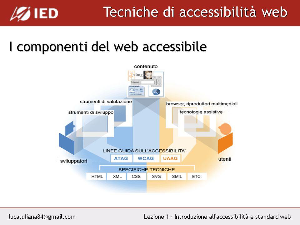 luca.uliana84@gmail.com Tecniche di accessibilità web Lezione 1 - Introduzione all accessibilità e standard web I componenti del web accessibile