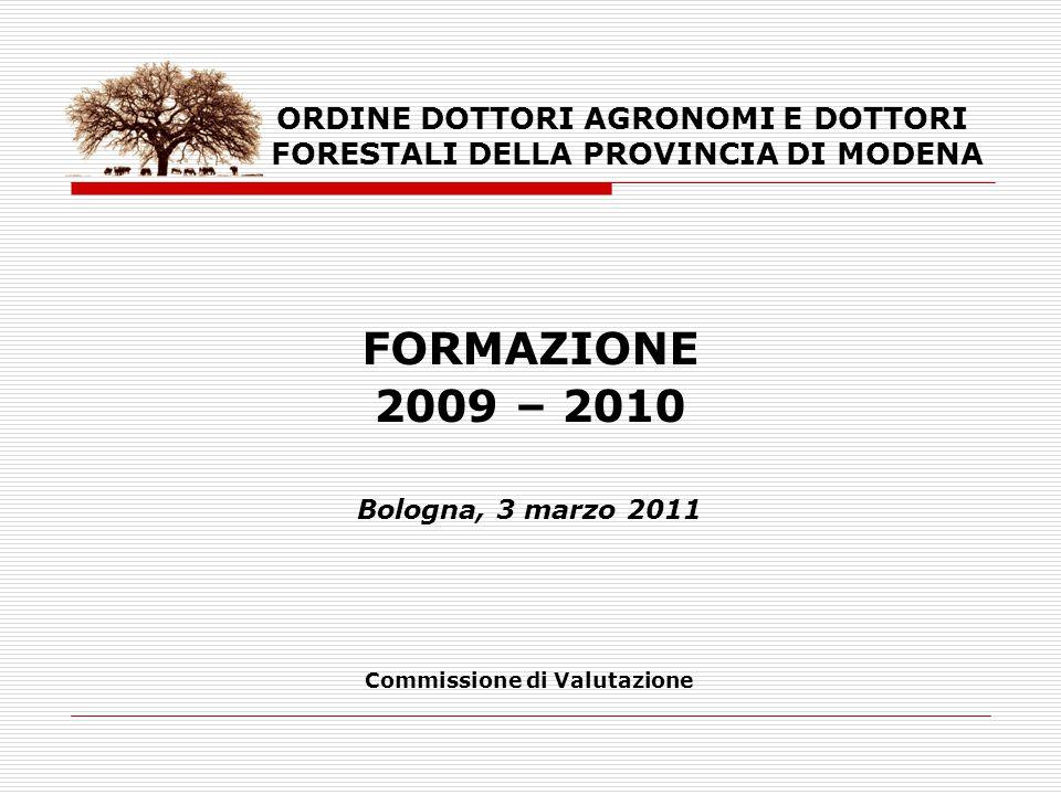 ORDINE DOTTORI AGRONOMI E DOTTORI FORESTALI DELLA PROVINCIA DI MODENA FORMAZIONE 2009 – 2010 Bologna, 3 marzo 2011 Commissione di Valutazione