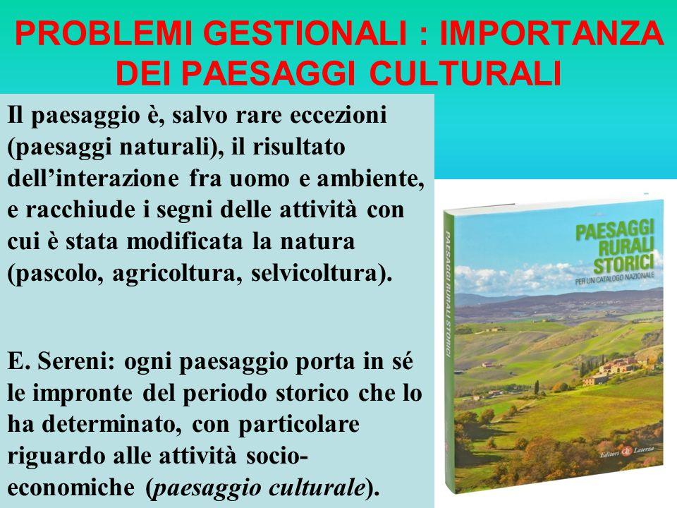 PROBLEMI GESTIONALI : IMPORTANZA DEI PAESAGGI CULTURALI Il paesaggio è, salvo rare eccezioni (paesaggi naturali), il risultato dellinterazione fra uom