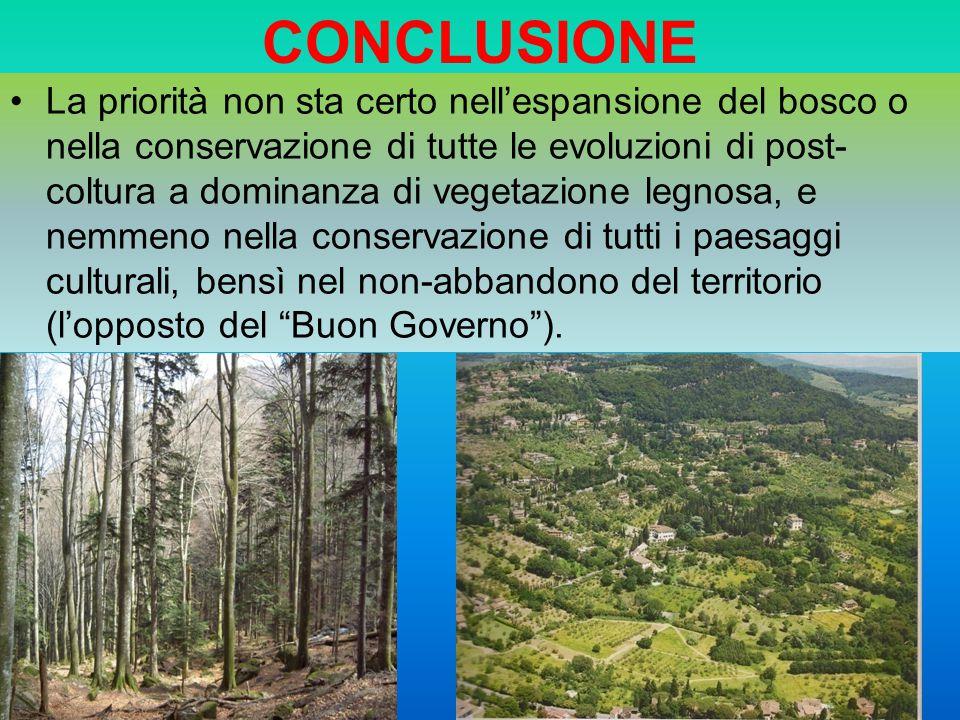 CONCLUSIONE La priorità non sta certo nellespansione del bosco o nella conservazione di tutte le evoluzioni di post- coltura a dominanza di vegetazion