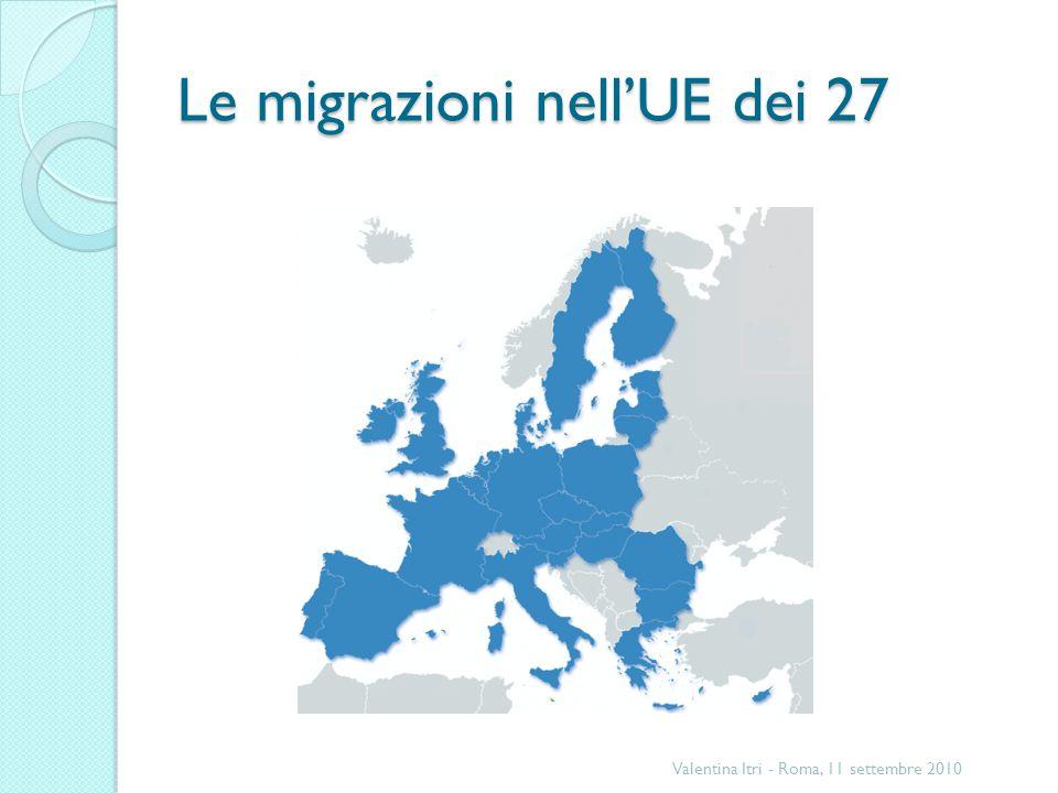 Le migrazioni nellUE dei 27 Valentina Itri - Roma, 11 settembre 2010