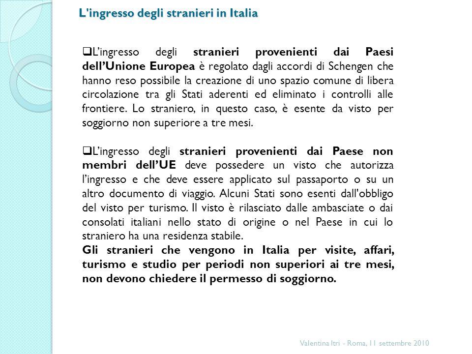 L ingresso degli stranieri in Italia Valentina Itri - Roma, 11 settembre 2010 Lingresso degli stranieri provenienti dai Paesi dellUnione Europea è regolato dagli accordi di Schengen che hanno reso possibile la creazione di uno spazio comune di libera circolazione tra gli Stati aderenti ed eliminato i controlli alle frontiere.