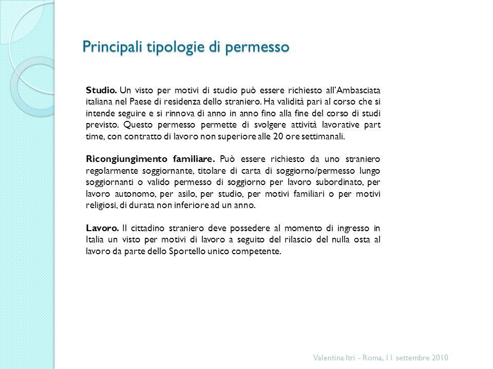 Principali tipologie di permesso Valentina Itri - Roma, 11 settembre 2010 Studio.