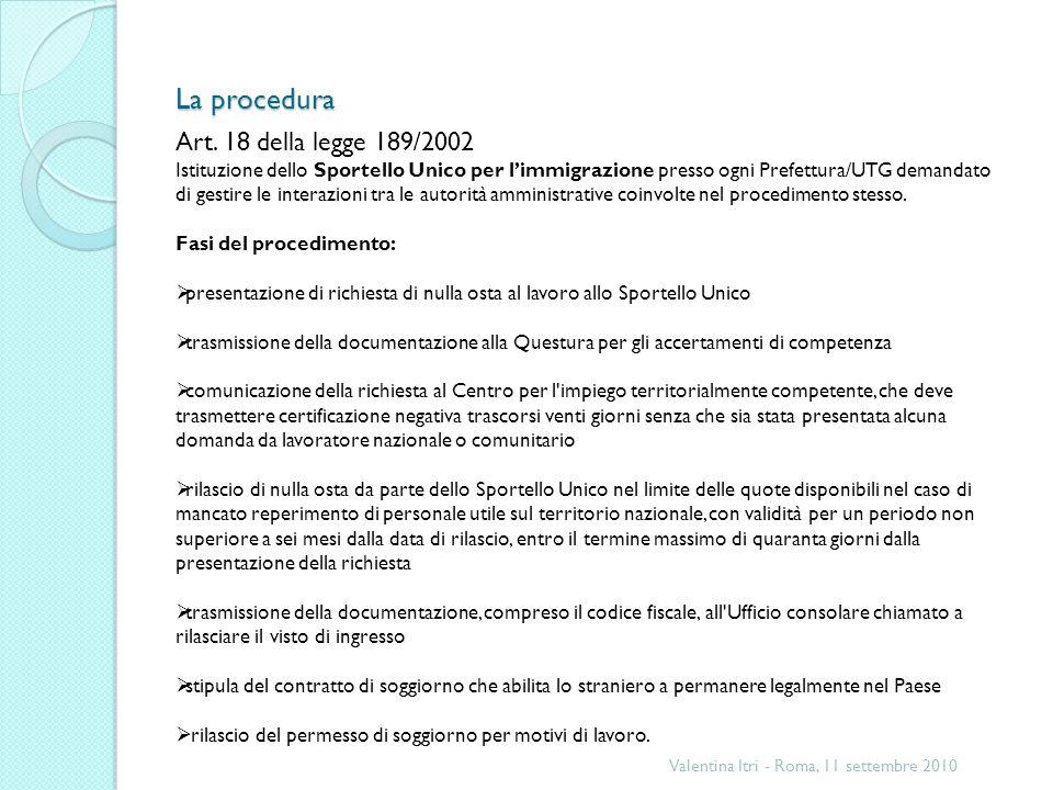 La procedura Valentina Itri - Roma, 11 settembre 2010 Art.