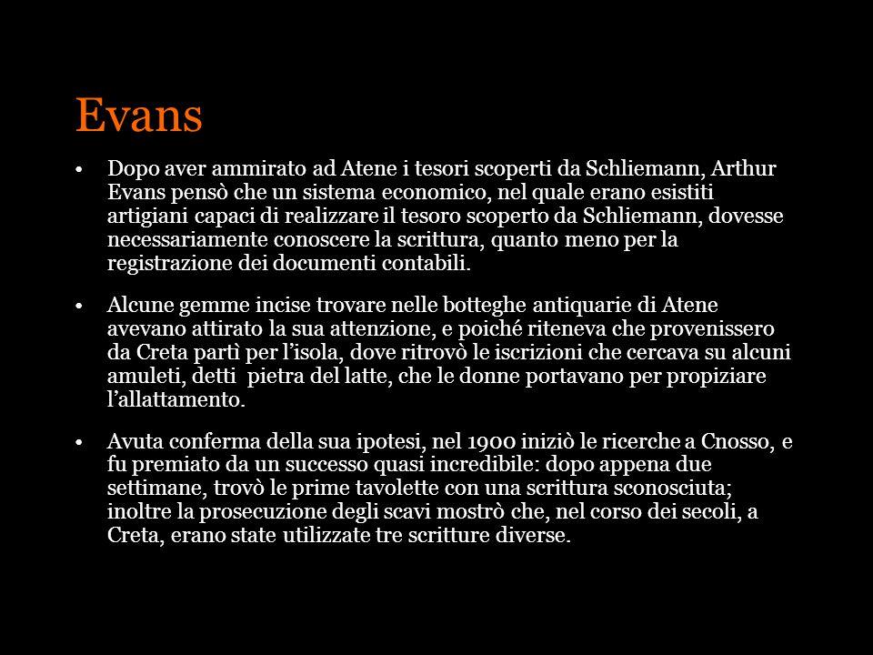 Evans Dopo aver ammirato ad Atene i tesori scoperti da Schliemann, Arthur Evans pensò che un sistema economico, nel quale erano esistiti artigiani cap