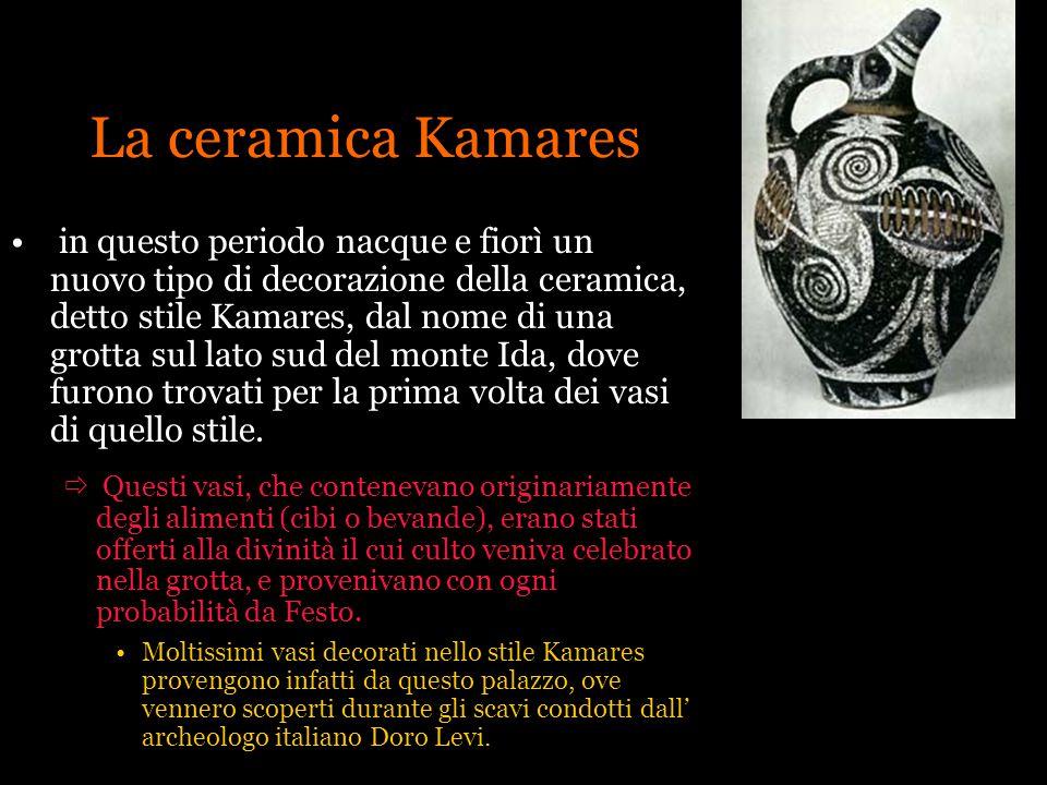 La ceramica Kamares in questo periodo nacque e fiorì un nuovo tipo di decorazione della ceramica, detto stile Kamares, dal nome di una grotta sul lato