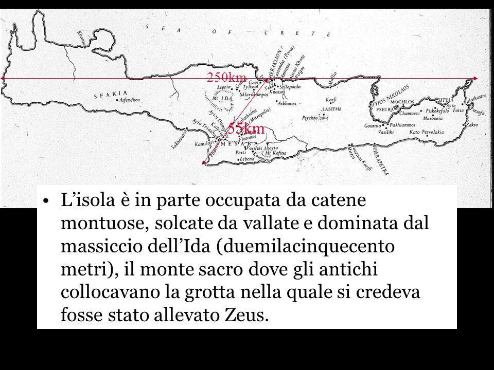 localizzazione Lisola è in parte occupata da catene montuose, solcate da vallate e dominata dal massiccio dellIda (duemilacinquecento metri), il monte