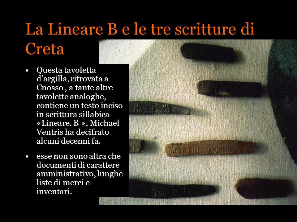 La Lineare B e le tre scritture di Creta Questa tavoletta dargilla, ritrovata a Cnosso, a tante altre tavolette analoghe, contiene un testo inciso in