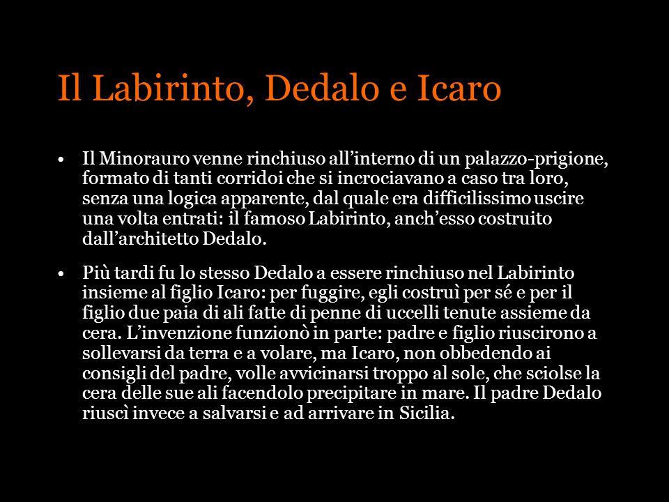 Il Labirinto, Dedalo e Icaro Il Minorauro venne rinchiuso allinterno di un palazzo-prigione, formato di tanti corridoi che si incrociavano a caso tra