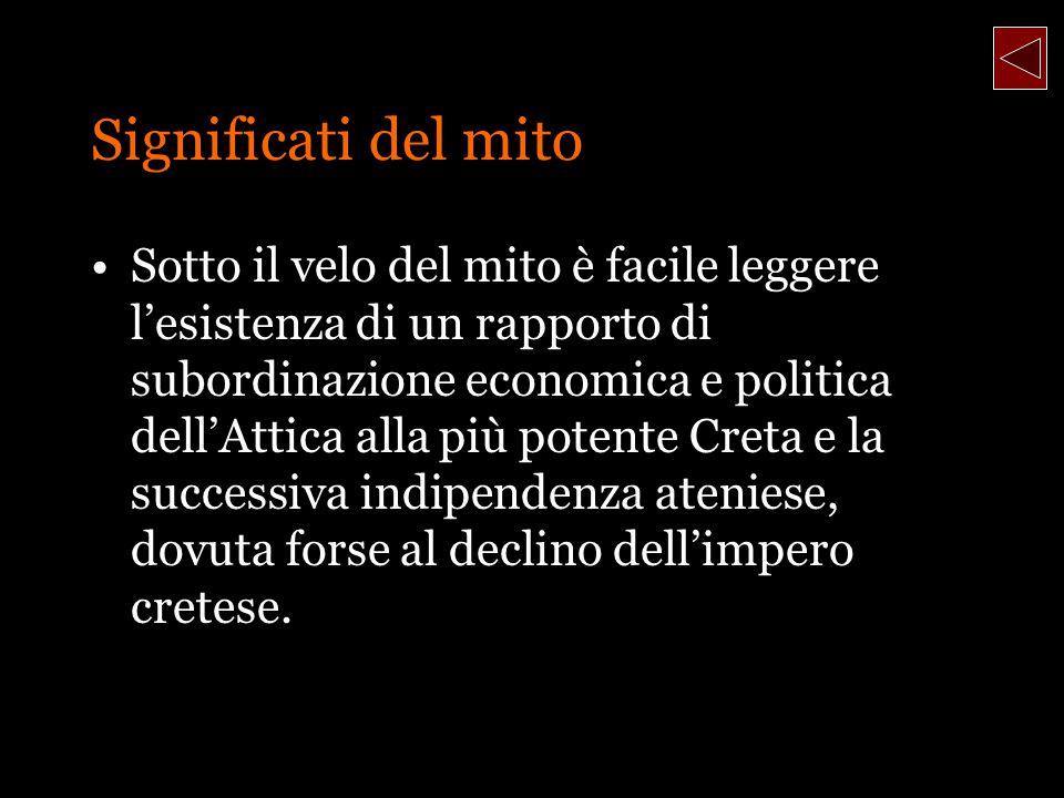 Significati del mito Sotto il velo del mito è facile leggere lesistenza di un rapporto di subordinazione economica e politica dellAttica alla più pote