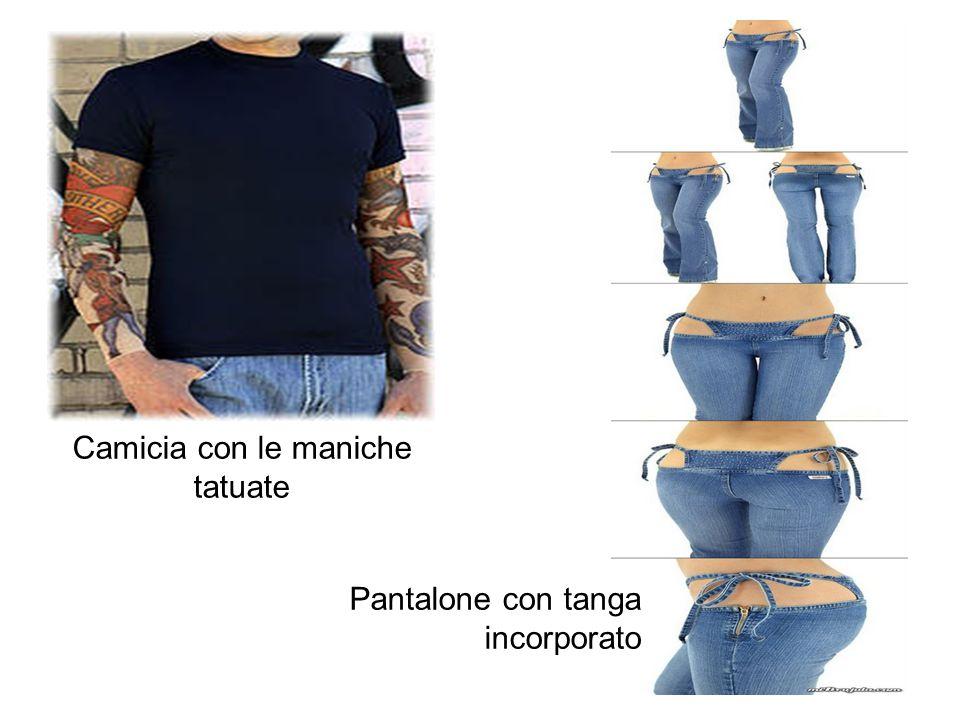 Camicia con le maniche tatuate Pantalone con tanga incorporato