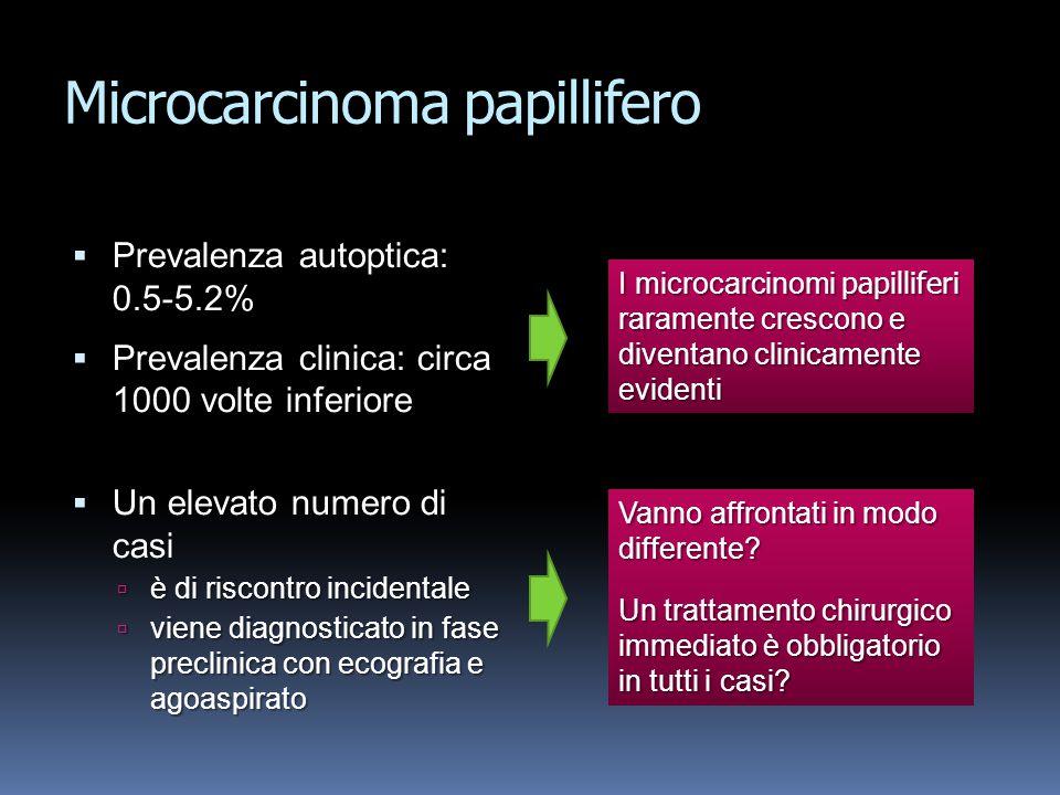 Microcarcinoma papillifero Prevalenza autoptica: 0.5-5.2% Prevalenza autoptica: 0.5-5.2% Prevalenza clinica: circa 1000 volte inferiore Prevalenza cli