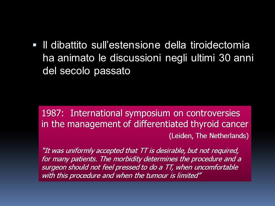 Il dibattito sullestensione della tiroidectomia ha animato le discussioni negli ultimi 30 anni del secolo passato Il dibattito sullestensione della ti