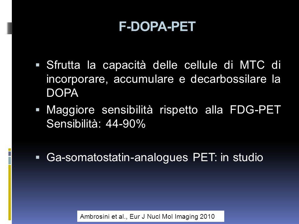 F-DOPA-PET Sfrutta la capacità delle cellule di MTC di incorporare, accumulare e decarbossilare la DOPA Maggiore sensibilità rispetto alla FDG-PET Sensibilità: 44-90% Ga-somatostatin-analogues PET: in studio Ambrosini et al., Eur J Nucl Mol Imaging 2010