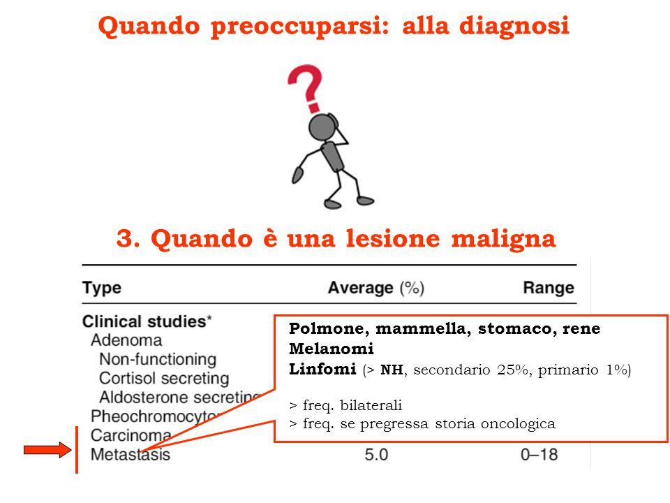 Quando preoccuparsi: alla diagnosi 3. Quando è una lesione maligna Polmone, mammella, stomaco, rene Melanomi Linfomi (> NH, secondario 25%, primario 1