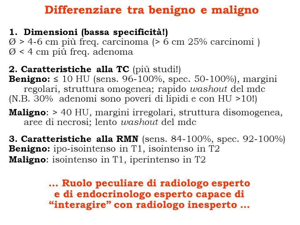 Differenziare tra benigno e maligno 1.Dimensioni (bassa specificità!) Ø > 4-6 cm più freq. carcinoma (> 6 cm 25% carcinomi ) Ø < 4 cm più freq. adenom