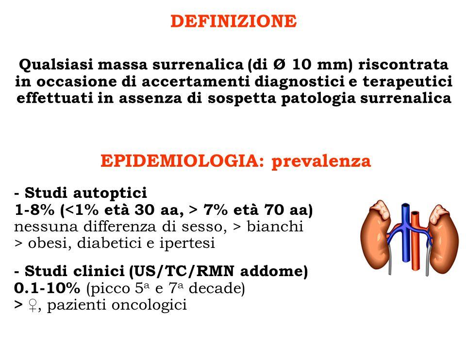 Qualsiasi massa surrenalica (di Ø 10 mm) riscontrata in occasione di accertamenti diagnostici e terapeutici effettuati in assenza di sospetta patologi