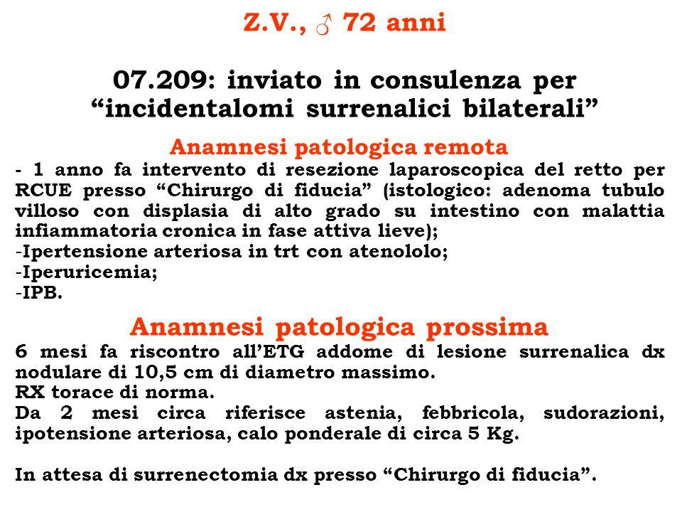 Z.V., 72 anni 07.209: inviato in consulenza per incidentalomi surrenalici bilaterali Anamnesi patologica remota - 1 anno fa intervento di resezione la