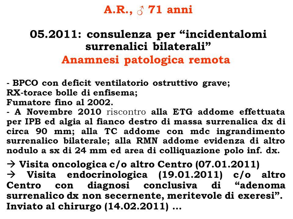 A.R., 71 anni 05.2011: consulenza per incidentalomi surrenalici bilaterali Anamnesi patologica remota - BPCO con deficit ventilatorio ostruttivo grave