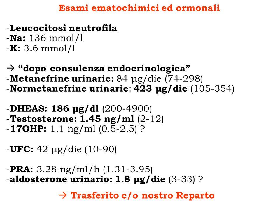Esami ematochimici ed ormonali - Leucocitosi neutrofila - Na: 136 mmol/l - K: 3.6 mmol/l dopo consulenza endocrinologica - Metanefrine urinarie: 84 μg
