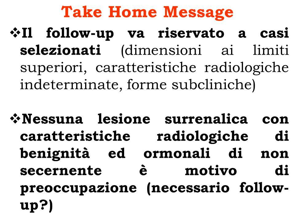 Take Home Message Il follow-up va riservato a casi selezionati (dimensioni ai limiti superiori, caratteristiche radiologiche indeterminate, forme subc
