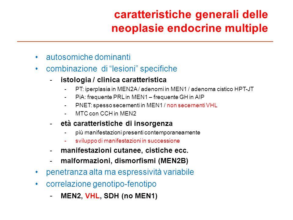 caratteristiche generali delle neoplasie endocrine multiple autosomiche dominanti combinazione di lesioni specifiche -istologia / clinica caratteristica -PT: iperplasia in MEN2A / adenomi in MEN1 / adenoma cistico HPT-JT -PiA: frequente PRL in MEN1 – frequente GH in AIP -PNET: spesso secernenti in MEN1 / non secernenti VHL -MTC con CCH in MEN2 -età caratteristiche di insorgenza -più manifestazioni presenti contemporaneamente -sviluppo di manifestazioni in successione -manifestazioni cutanee, cistiche ecc.