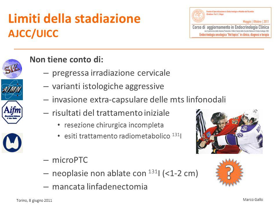 Marco Gallo Torino, 8 giugno 2011 Limiti della stadiazione AJCC/UICC Non tiene conto di: – pregressa irradiazione cervicale – varianti istologiche agg