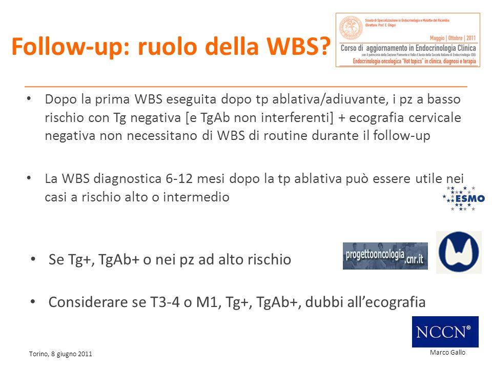 Marco Gallo Torino, 8 giugno 2011 Follow-up: ruolo della WBS? Dopo la prima WBS eseguita dopo tp ablativa/adiuvante, i pz a basso rischio con Tg negat