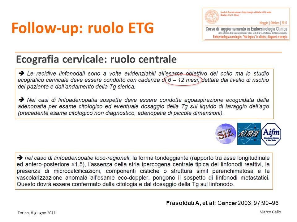 Marco Gallo Torino, 8 giugno 2011 Follow-up: ruolo ETG Ecografia cervicale: ruolo centrale Frasoldati A, et al: Cancer 2003; 97:90–96