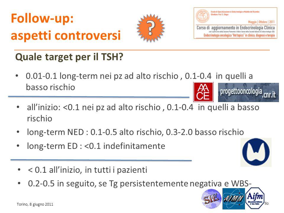 Marco Gallo Torino, 8 giugno 2011 0.01-0.1 long-term nei pz ad alto rischio, 0.1-0.4 in quelli a basso rischio allinizio: <0.1 nei pz ad alto rischio,