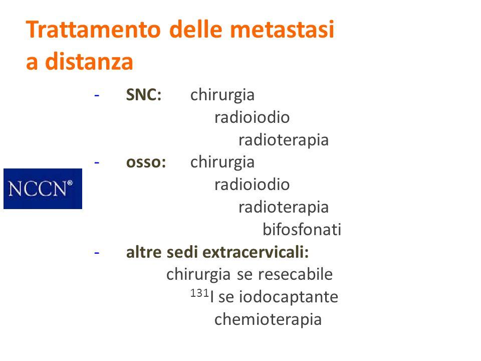 -SNC: chirurgia radioiodio radioterapia -osso:chirurgia radioiodio radioterapia bifosfonati -altre sedi extracervicali: chirurgia se resecabile 131 I