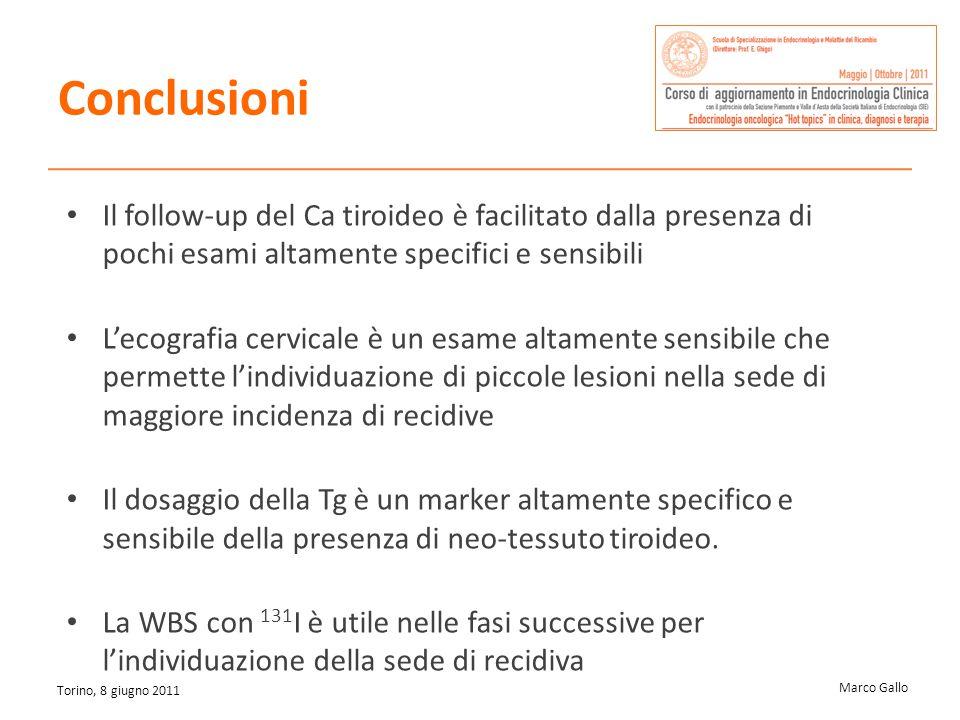 Marco Gallo Torino, 8 giugno 2011 Il follow-up del Ca tiroideo è facilitato dalla presenza di pochi esami altamente specifici e sensibili Lecografia c