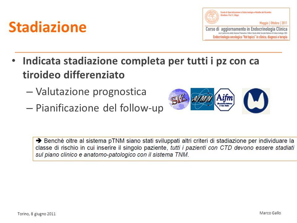 Marco Gallo Torino, 8 giugno 2011 Stadiazione Indicata stadiazione completa per tutti i pz con ca tiroideo differenziato – Valutazione prognostica – P