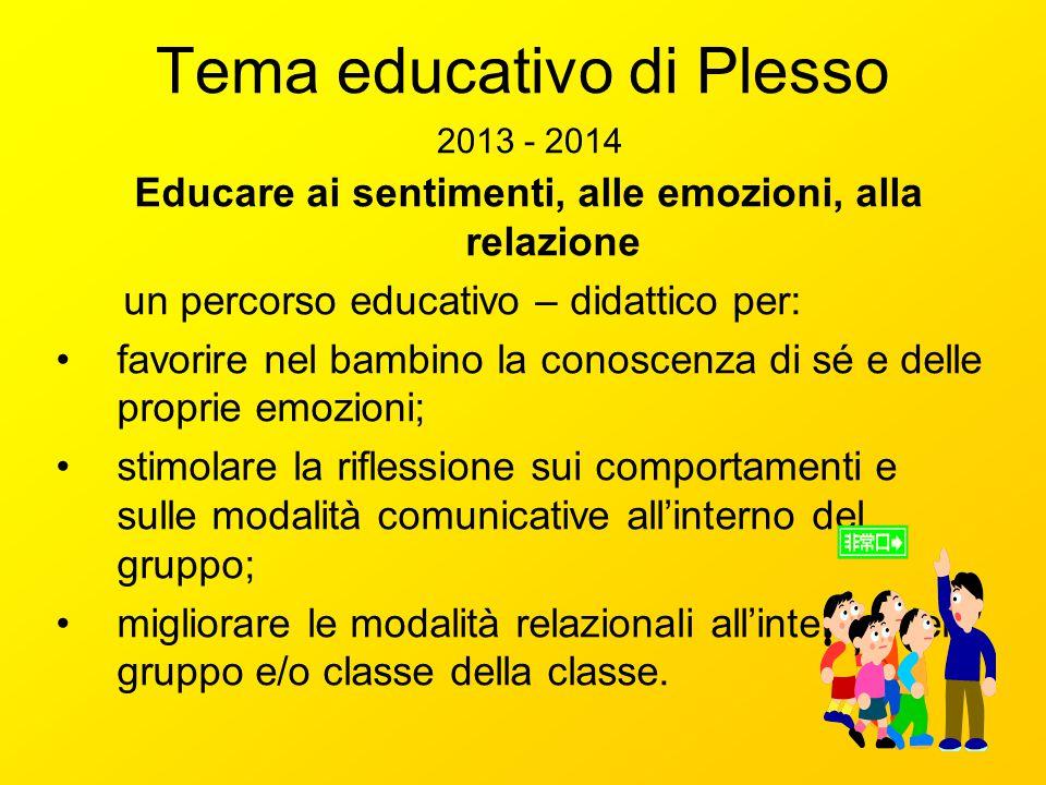 Tema educativo di Plesso 2013 - 2014 Educare ai sentimenti, alle emozioni, alla relazione un percorso educativo – didattico per: favorire nel bambino