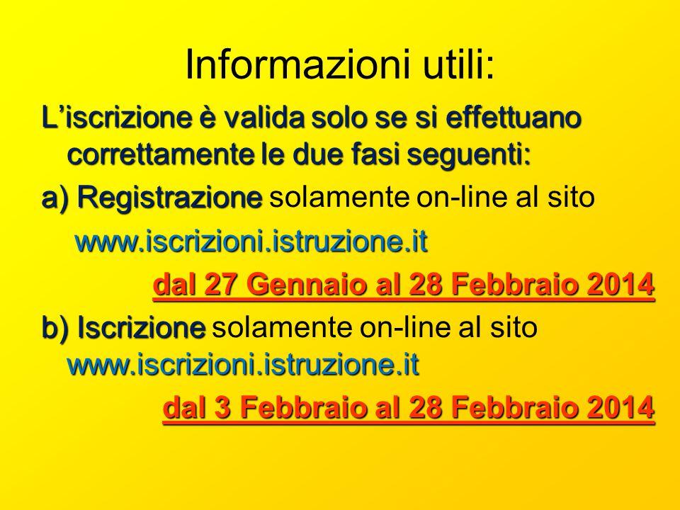 Informazioni utili: Liscrizione è valida solo se si effettuano correttamente le due fasi seguenti: a) Registrazione a) Registrazione solamente on-line