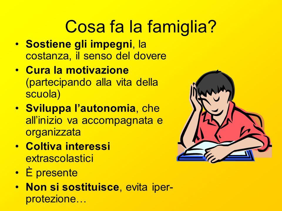 Cosa fa la famiglia? Sostiene gli impegni, la costanza, il senso del dovere Cura la motivazione (partecipando alla vita della scuola) Sviluppa lautono