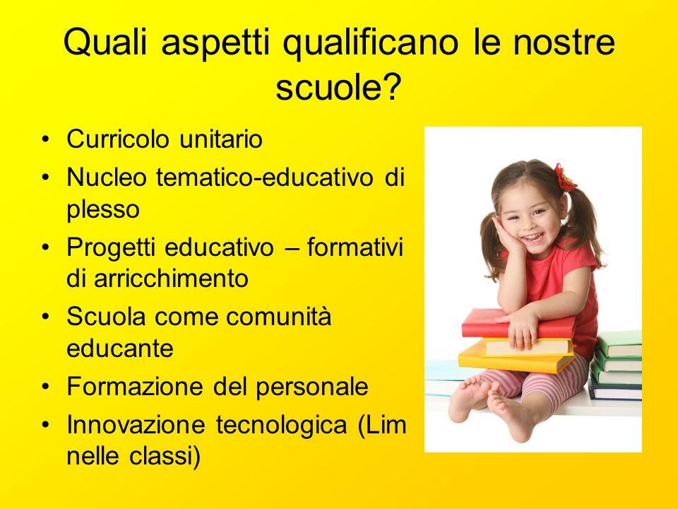 Quali aspetti qualificano le nostre scuole? Curricolo unitario Nucleo tematico-educativo di plesso Progetti educativo – formativi di arricchimento Scu