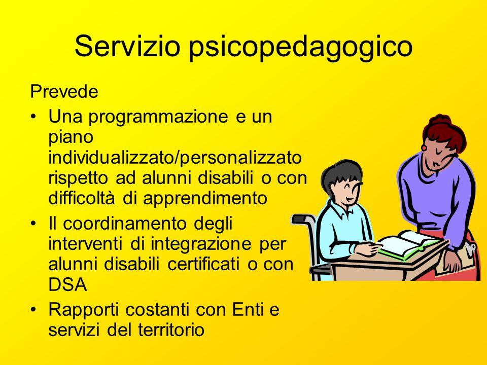 Servizio psicopedagogico Prevede Una programmazione e un piano individualizzato/personalizzato rispetto ad alunni disabili o con difficoltà di apprend