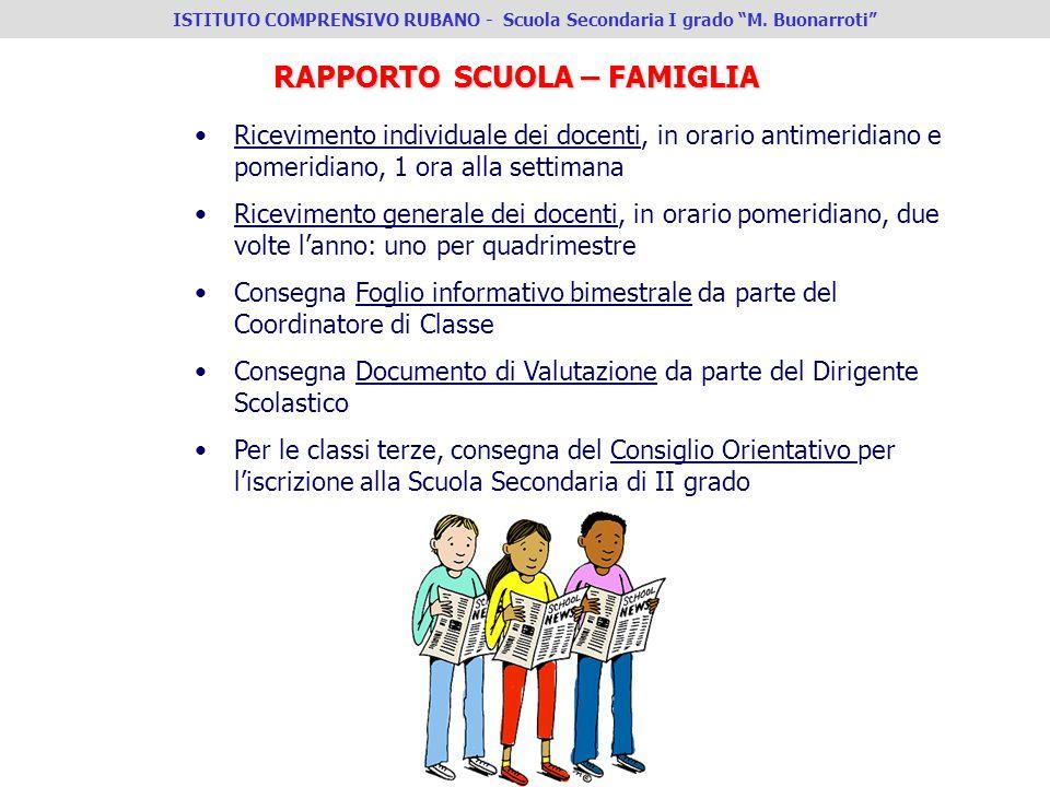 IV ISTITUTO COMPRENSIVO PADOVA - Scuola Secondaria I°grado G.Zanella RAPPORTO SCUOLA – FAMIGLIA Ricevimento individuale dei docenti, in orario antimer