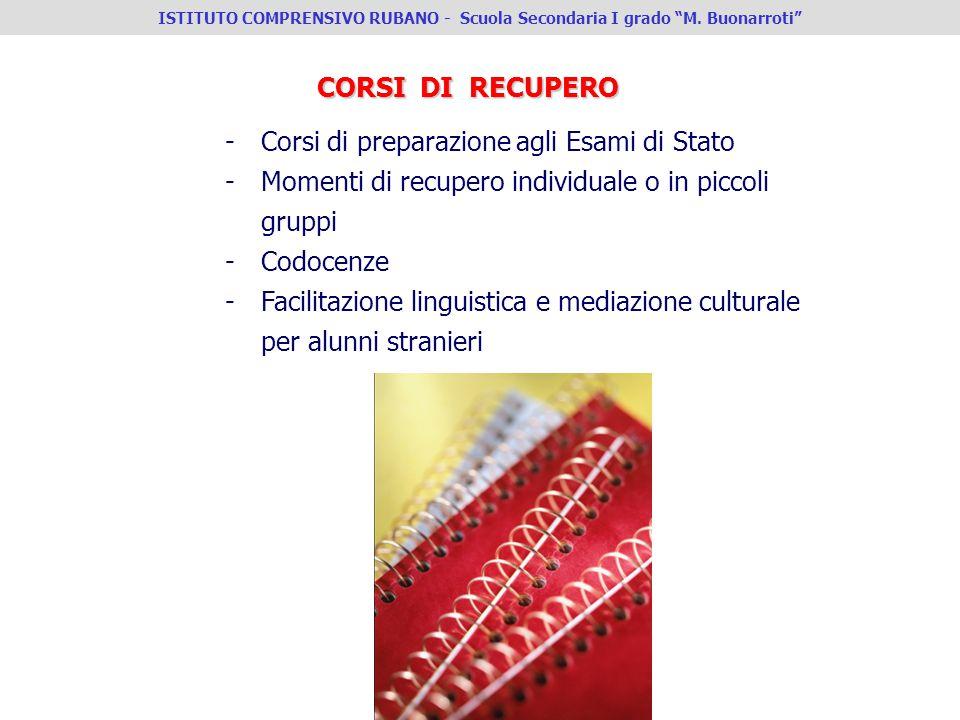 CORSI DI RECUPERO -Corsi di preparazione agli Esami di Stato -Momenti di recupero individuale o in piccoli gruppi -Codocenze -Facilitazione linguistic