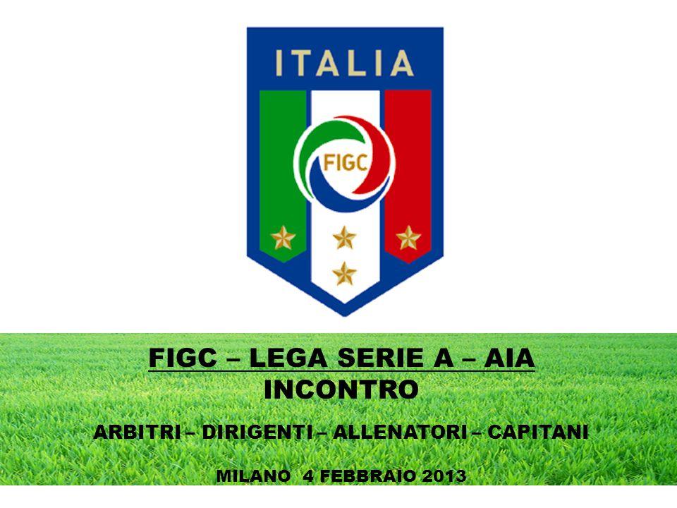 FIGC – LEGA SERIE A – AIA INCONTRO ARBITRI – DIRIGENTI – ALLENATORI – CAPITANI MILANO 4 FEBBRAIO 2013