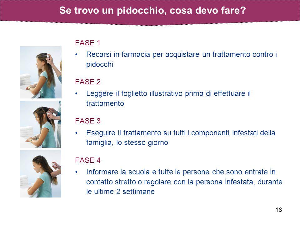 18 FASE 1 Recarsi in farmacia per acquistare un trattamento contro i pidocchi FASE 2 Leggere il foglietto illustrativo prima di effettuare il trattame