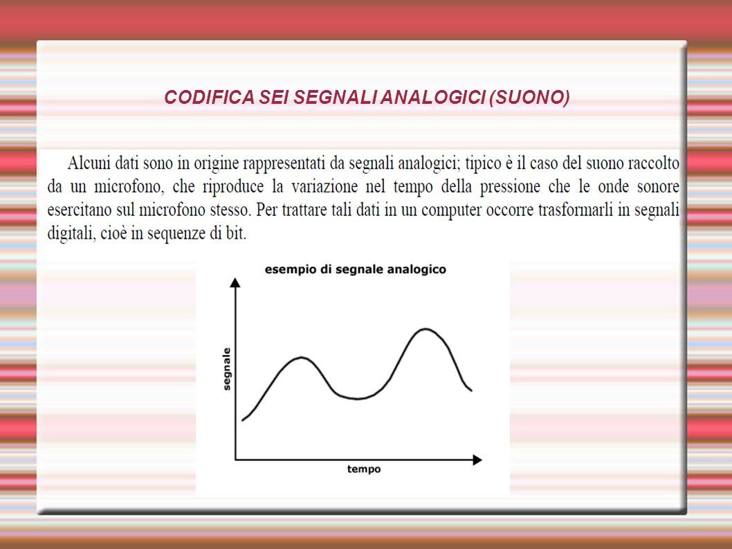 CODIFICA SEI SEGNALI ANALOGICI (SUONO)