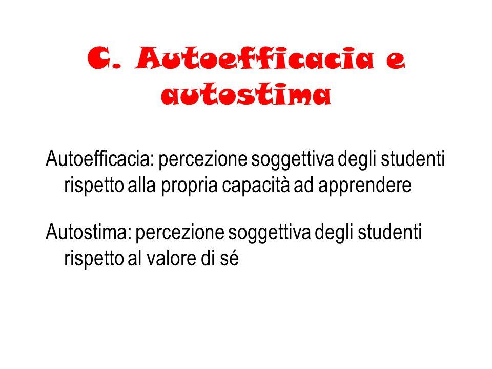 C. Autoefficacia e autostima Autoefficacia: percezione soggettiva degli studenti rispetto alla propria capacità ad apprendere Autostima: percezione so