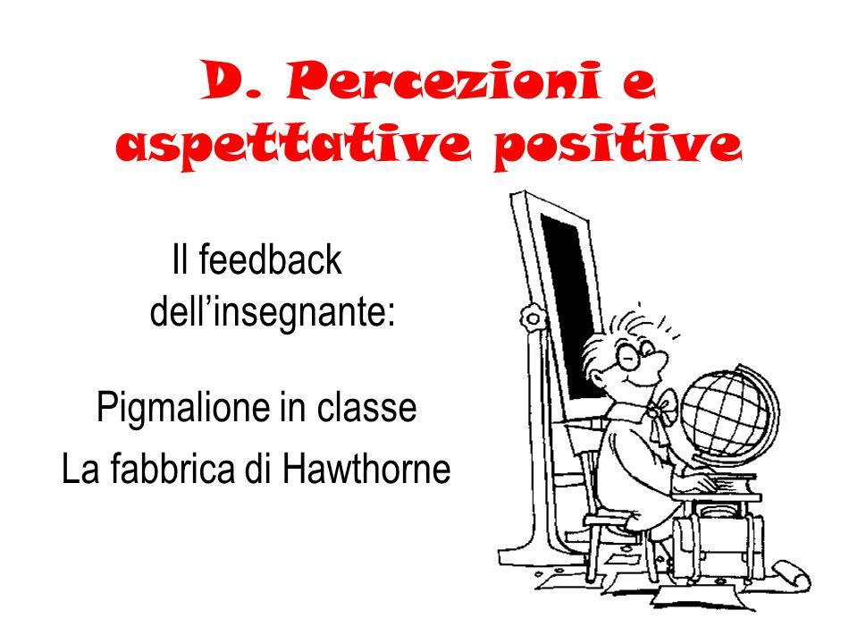 D. Percezioni e aspettative positive Il feedback dellinsegnante: Pigmalione in classe La fabbrica di Hawthorne