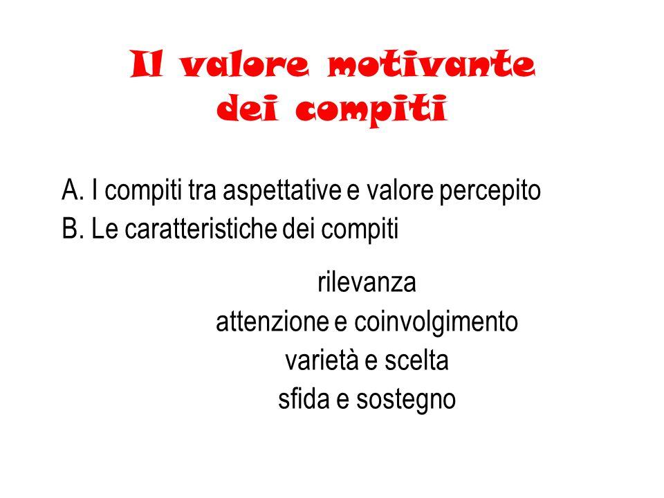 Il valore motivante dei compiti A.I compiti tra aspettative e valore percepito B.