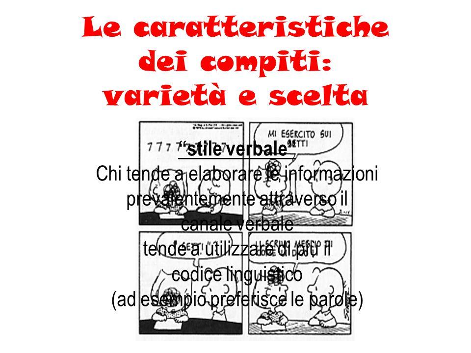 Le caratteristiche dei compiti: varietà e scelta stile verbale Chi tende a elaborare le informazioni prevalentemente attraverso il canale verbale tende a utilizzare di più il codice linguistico (ad esempio preferisce le parole)