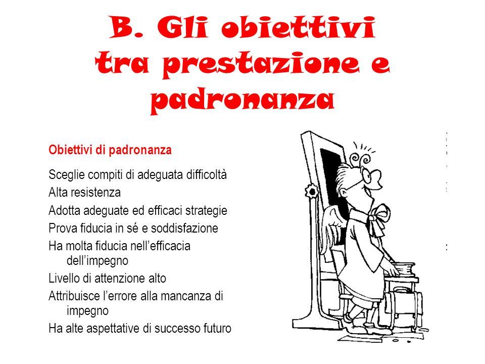 B. Gli obiettivi tra prestazione e padronanza Obiettivi di padronanza Sceglie compiti di adeguata difficoltà Alta resistenza Adotta adeguate ed effica
