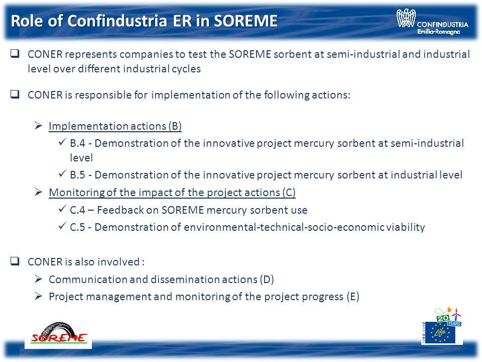 Confindustria Emilia-Romagna Low cost sorbent for reducing mercury emissions Low cost sorbent for reducing mercury emissions SOREME Project 12 month meeting Pisa, 27 January 2014 Life+ 11 ENV/IT/109-SOREME